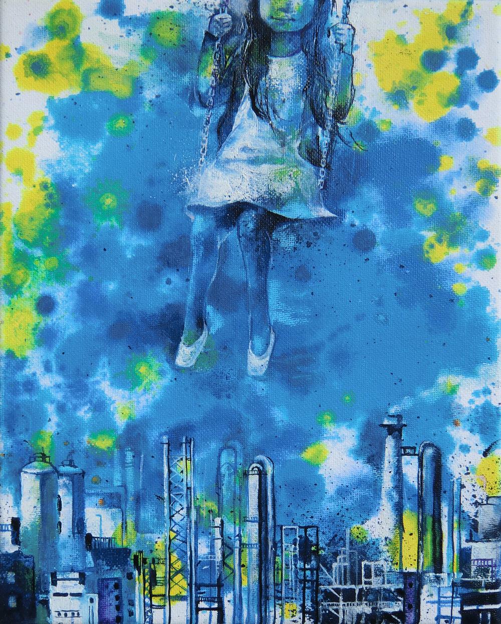 Manami Takamatsu - Geheimnis der Nacht  2015, Ölfarbe auf Leinwand, 30×24cm
