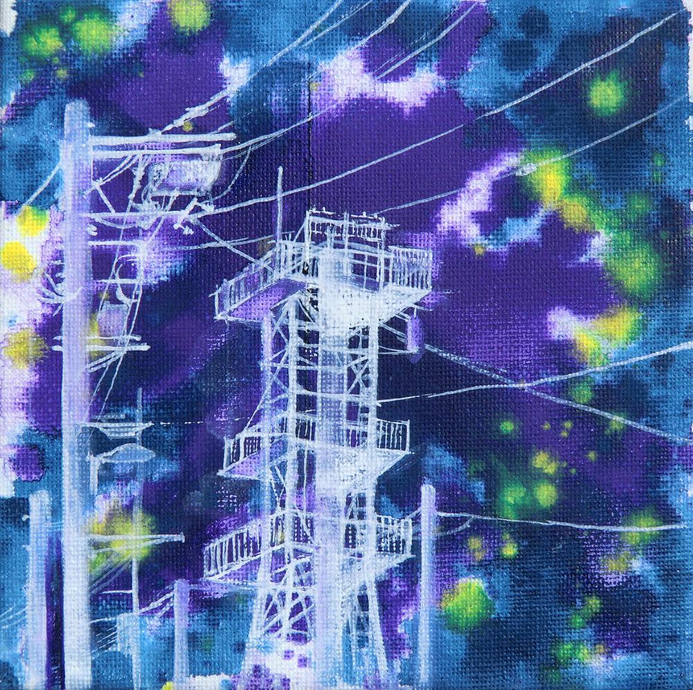Manami Takamatsu - eine Sommernacht  2015, Ölfarbe auf Leinwand, 15×15cm