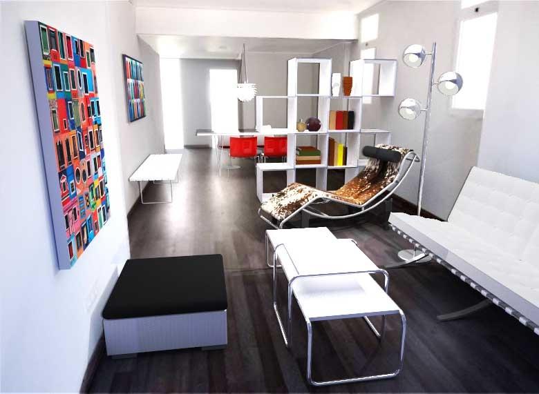 arqestudiBOMON - SALÓN/ LIVING ROOM  Mobiliario: Sofá Barcelonade Mies van der Rohe, Mesitas Laccio deMarcel Breuer y BancoBertoia de Bertoia(fabricados porKNOLL), LC4 Chaise Lounge de Le Corbusier,Charlotte Perriand yPierre Jeanneret (CASSINA),Lámpara Triple Bristol de MAISONS DU MONDE, y estantería de LAGO.  Furniture:Barcelona Sofaby Mies van der Rohe, Laccio Tables by Marcel Breuer and Bertoia Bench by Bertoia(manufactured byKNOLL), LC4 Chaise Lounge by Le Corbusier,Charlotte Perriand and Pierre Jeanneret (CASSINA),Triple Bristol Lamp by MAISONS DU MONDE, and shelving byLAGO.