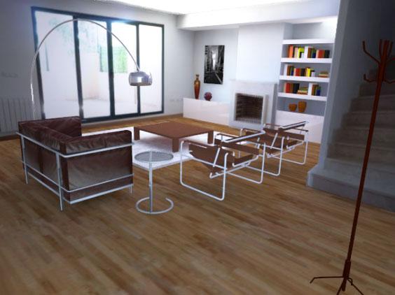 arqestudiBOMON - SALÓN / LIVING-ROOM  Mobiliario: lámpara de pie Arco de CASTIGLIONI, mesita de café cromada E 1027de EILEEN GRAY, sofá LC2 de LE CORBUSIER, JEANNERET & PERRIAND ysilla Wassily de BREUER.  Furniture: CASTIGLIONI_Arco Floor Lamp,EILEEN GRAY_E 1027 chrome coffee table,LE CORBUSIER,JEANNERET & PERRIAND_LC2sofa, andBREUER_Wassily Chair.