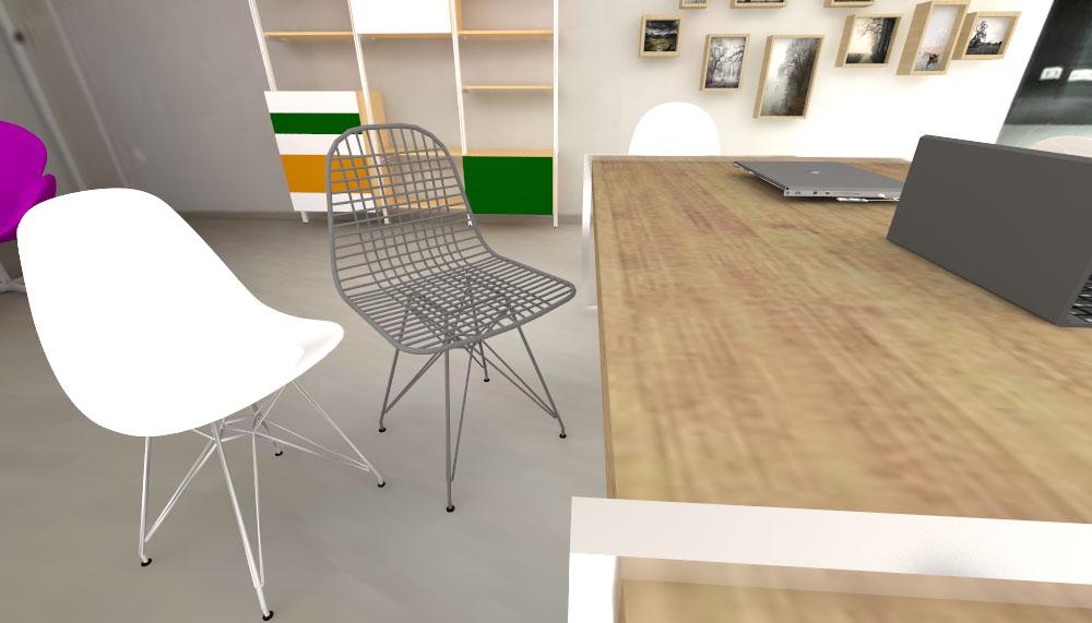 arqestudiBOMON - SILLA EIFFEL / EIFFEL CHAIR _ 1950 - CHARLES & RAY EAMES Primera silla de plástico fabricada industrialmente / First industrially manufactured plastic chair.  SILLA WIRE DKR / WIRE CHAIR DKR _ 1951 - CHARLES & RAY EAMES Diseñada con cable de acero soldado / Designed with welded steel cable.  Ambas sillas fueron diseñadas por los arquitectos-diseñadores americanos Charles&Ray Eames. Son fabricadas por Vitra / Both chairs were designed by American architects-designers Charles&Ray Eames. Manufactured by Vitra.