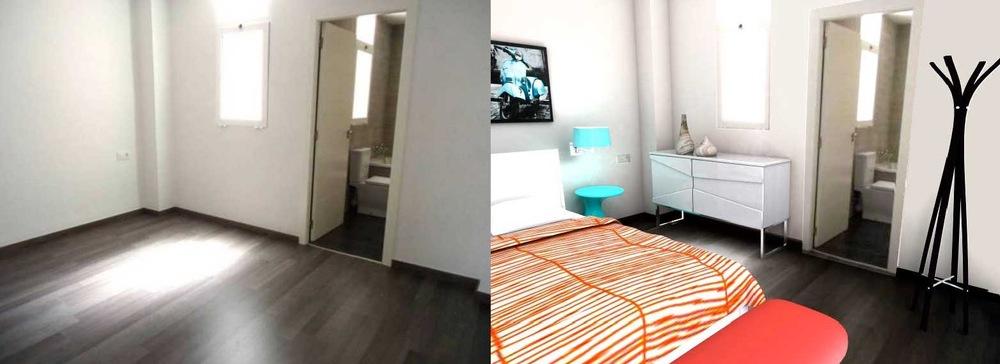 arqestudiBOMON - VISTAS DORMITORIO ANTES Y DESPUÉS /BEDROOM VIEWS BEFORE AND AFTER