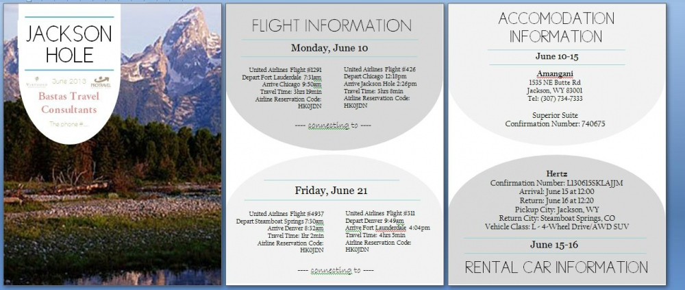 Natallie Rainer Graphic Design Portfolio - Jackson Hole Travel Itinerary (example 2)