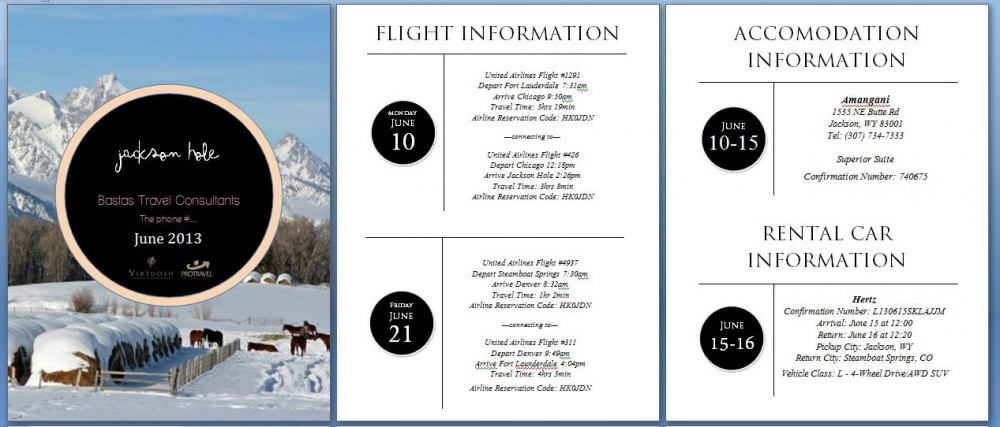 Natallie Rainer Graphic Design Portfolio - Jackson Hole Travel Itinerary (example 1)