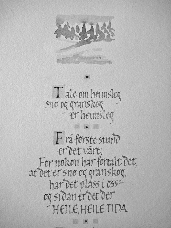 Firingan Kalligrafi - Snø og granskog