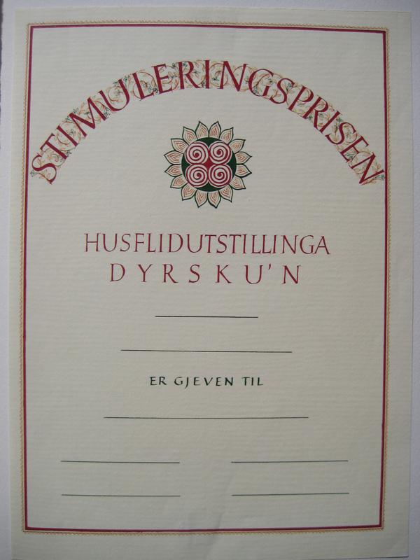 Firingan Kalligrafi - Stimuleringsprisen, Dyrsku´n