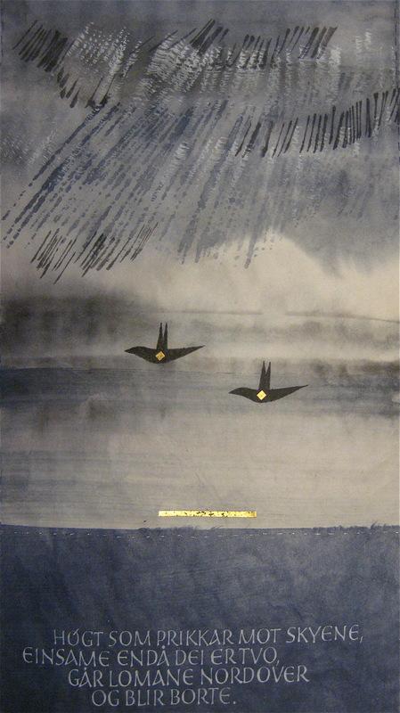 Firingan Kalligrafi - Lomen går mot nord (detalj), tekst av Tarjei Vesaas