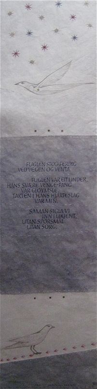 Firingan Kalligrafi - Fuglen, tekst av Tarjei Vesaas