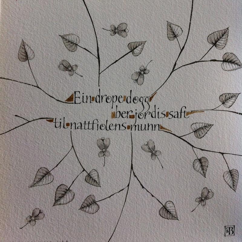 Firingan Kalligrafi - Teksutdrag frå dikt av Aslaug Vaa 23x23cm