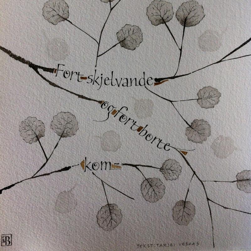 Firingan Kalligrafi - Tekstutdrag frå Innbyding av Tarjei Vesaas 23x23cm