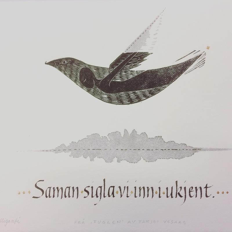 Firingan Kalligrafi - Fuglen, utdrag frå dikt av Tarjei Vesaas