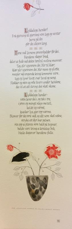 Firingan Kalligrafi - Lykkelegehender Tekst av Halldis Moren Vesaas