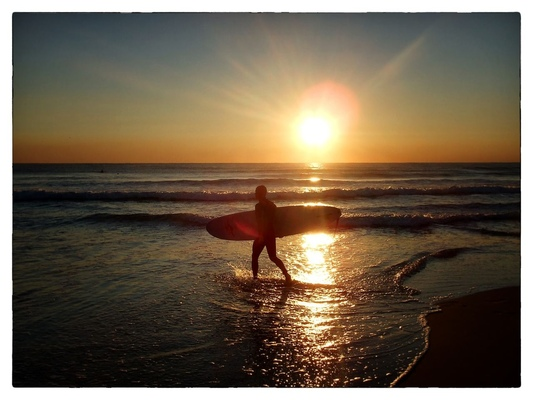 Andrew Bannerman-Bayles - Sunset surfer Coolum Beach, Australia