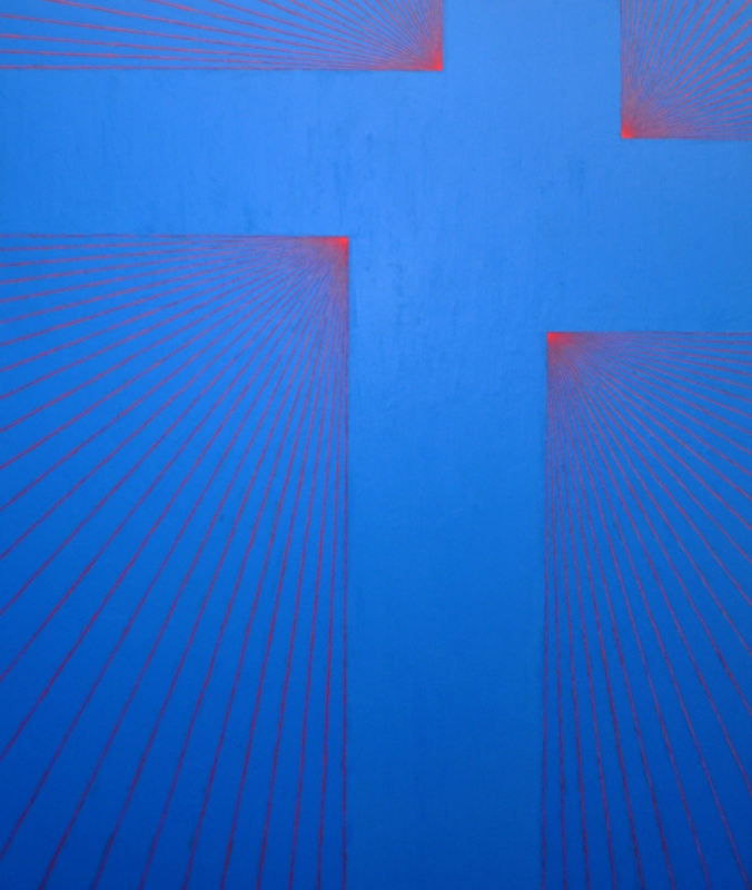 Janos Cseh - Blue on Pink. acrylic on canvas. 64 x 54 in. 2012
