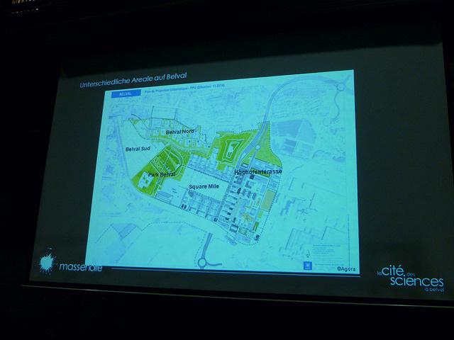 Jörg Kaspari - Landschaftsarchitekt - Der 2001 entwicklte Masterplan von Joe Coenen (NL) sieht die Entwicklung von fünf Arealen vor: Die Mischgebiete Hochofenterrasse und Square Mile die über den Park Belval mit den Wohngebieten Belval Süd und Belval Nord verbunden sind