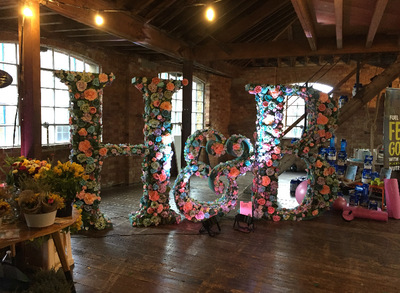 Lucille Dee - Poly Carved, hand painted 8ft Letter props for Holland and Barrett London Press Launch