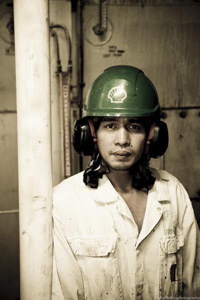 ship worker portrait, shell