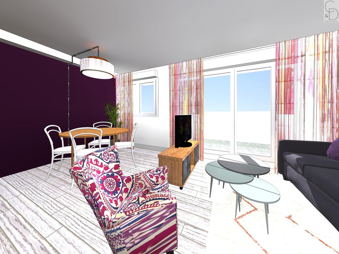 Nelly CORTOT - Aménagement d'un séjour avec cuisine - Montrouge