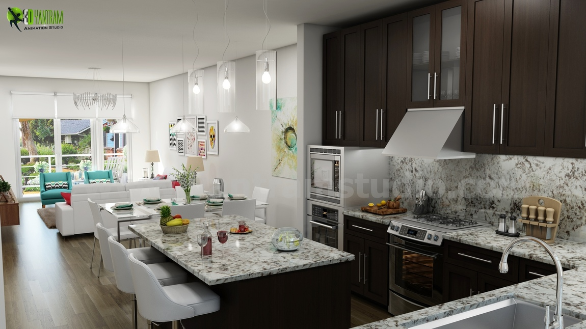 Yantram Studio - Unique Kitchen-Living Render from Interior Design Firm by 3D Architectural Modeling - Miami, USA