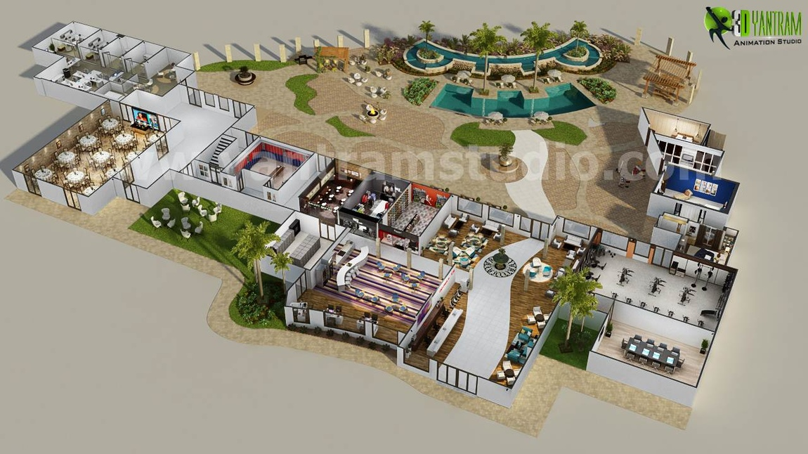 Yantram Studio - Conceptual Resort Floorplan Design Ideas by Yantram 3D Animation Studio - NewYork, USA