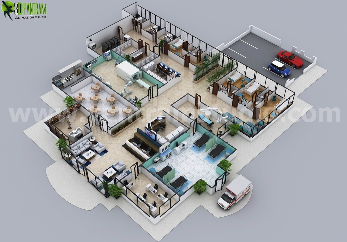 Yantram Studio - Hospital Floor Plan Concept Design by Architectural Animation Services - Brisbane,  Australia