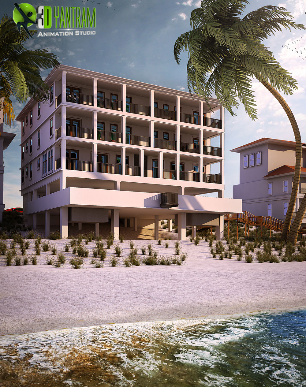 Yantram Studio - Beach Side Exterior House Rendering by 3D Yantram Architectural Modeling Firm - Boston,USA