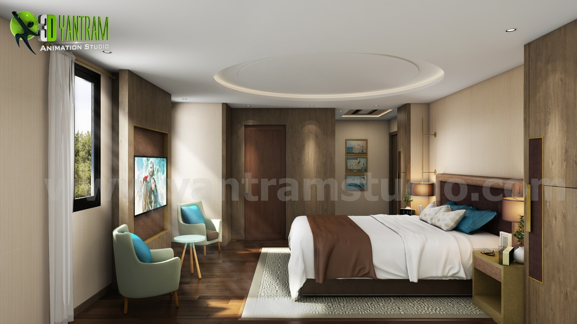 Yantram Studio - Interior Bedroom Design with home renovation concept by Architectural Animation Studio - Paris, France