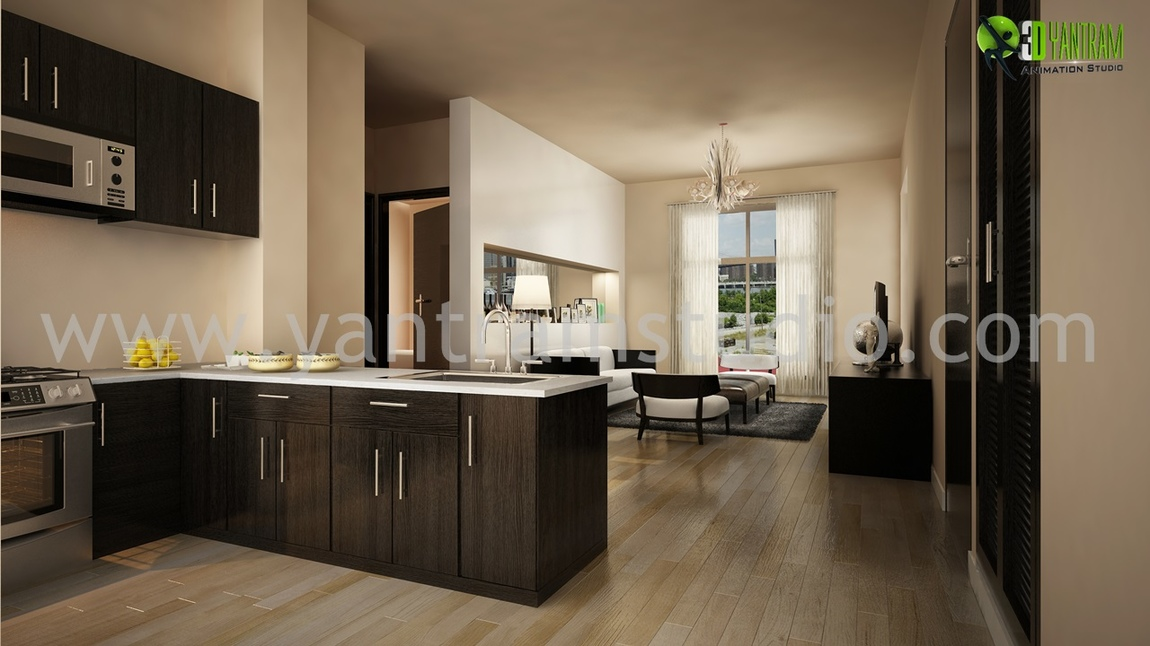 Yantram Studio - Beautifully Designed Kitchen Interior Design Rendering by Architectural Design Studio - New York, USA