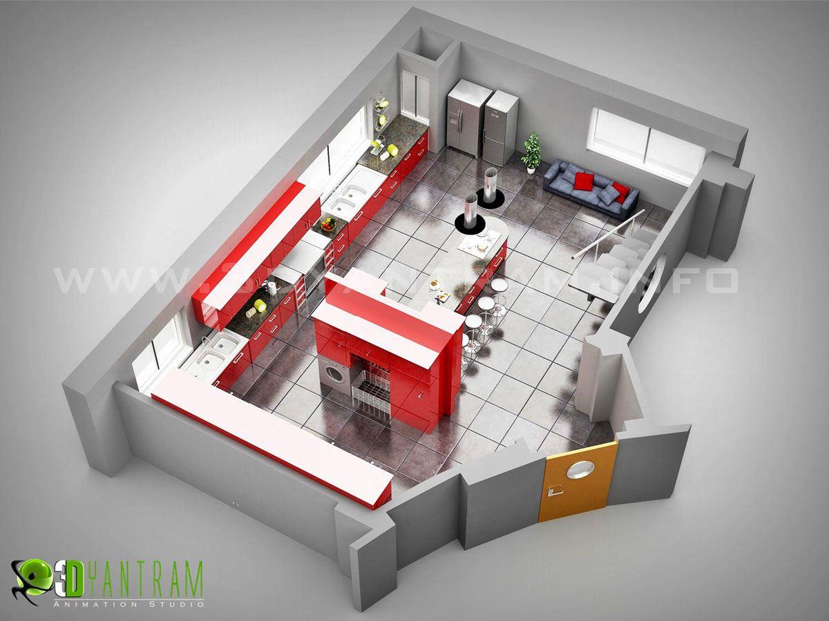 Yantram Studio - Floorplan Design of Kitchen by Yantram 3d Floor Plan Creator - Houston, Texas