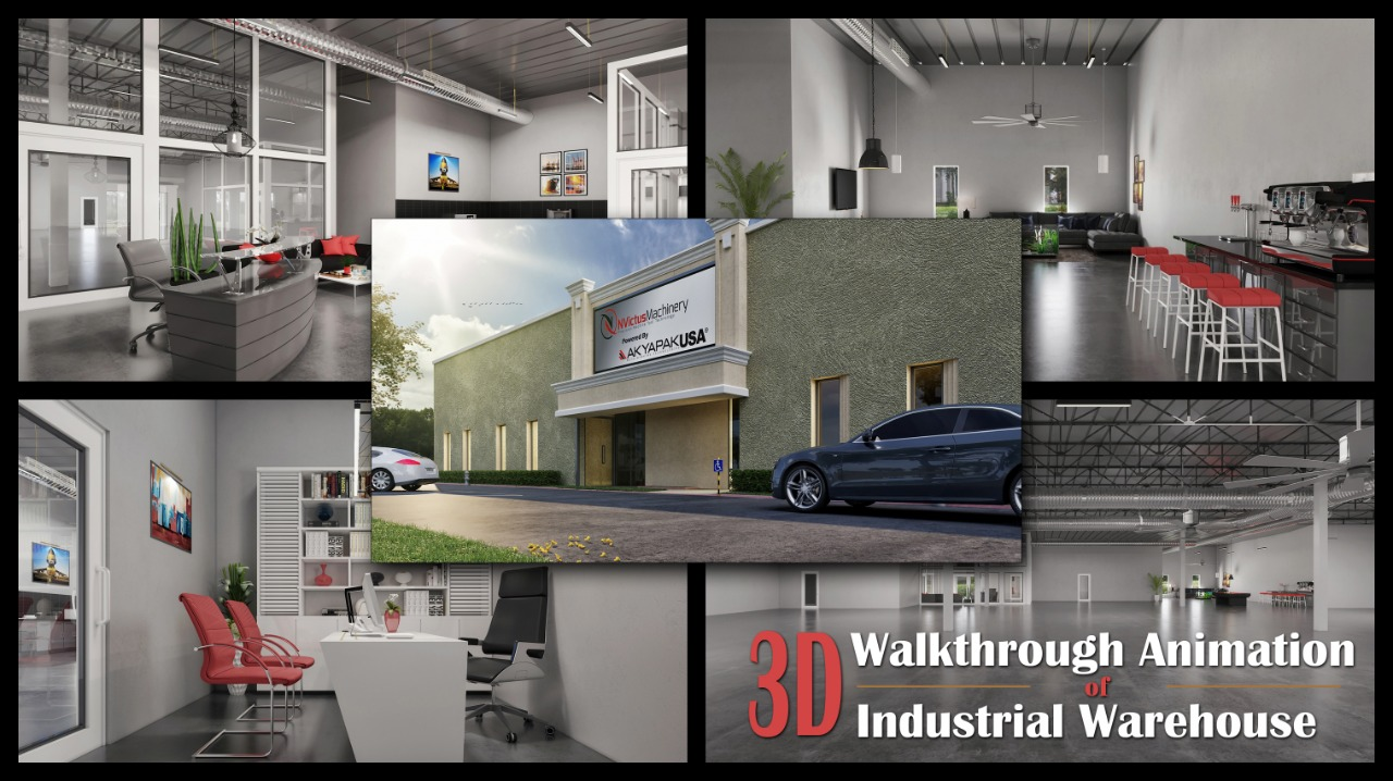 Yantram Studio - 3D Walkthrough Animation Of Industrial Warehouse Office 3D Interior Rendering Services by Architectural Modeling Firm, New York City – New York