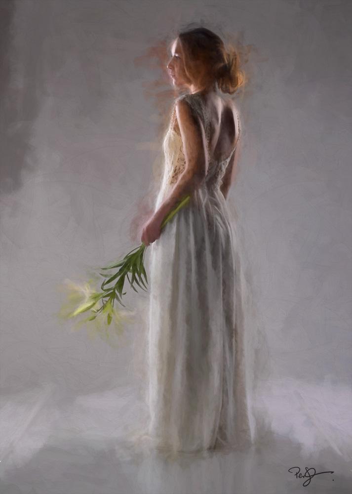 Per Johansson - Eget projekt - ung kvinna med lilja