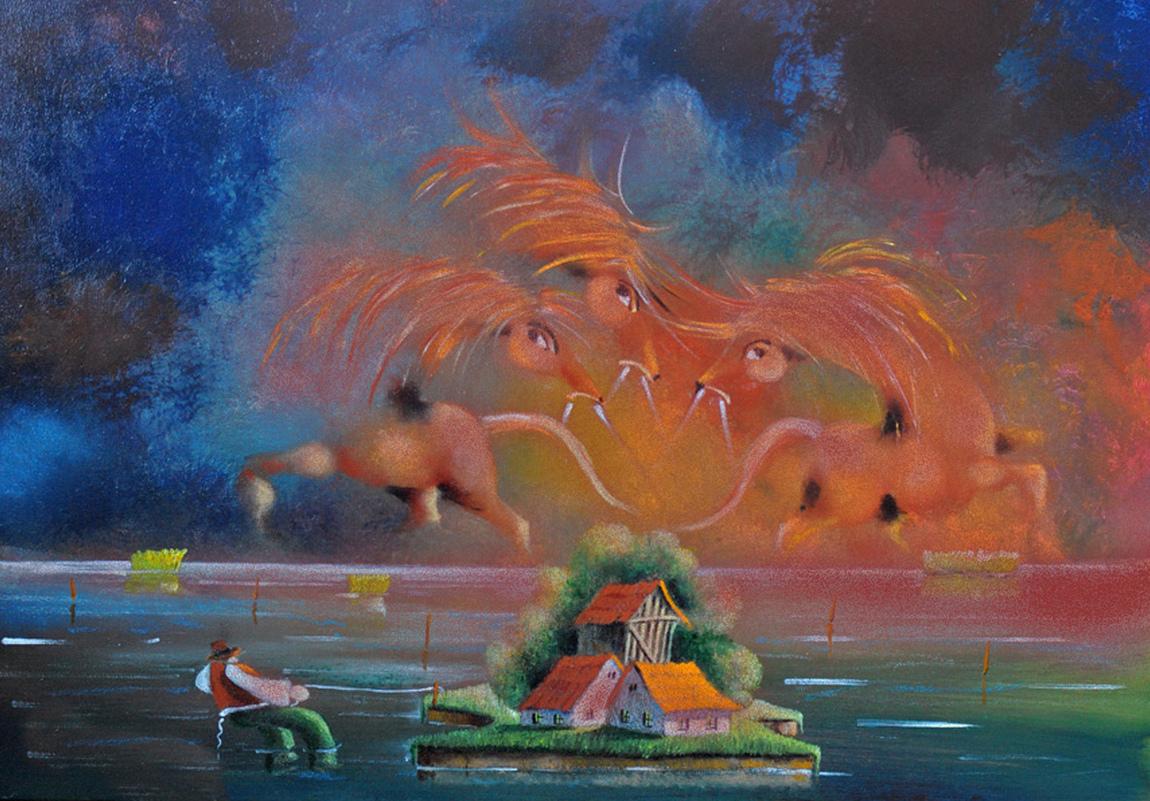 David Berkowitz Chicago - Three Horses and Three Houses